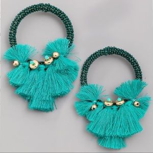 Jewelry - NEW! Emerald Acrylic Beaded Tassel Hoop Earrings